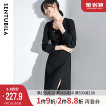Dress Spring 2021 black S M L XL Middle-skirt singleton  Long sleeves commute square neck High waist Solid color zipper other bishop sleeve 25-29 years old Type A Sentubila / sandubira Simplicity SD111L34112TM More than 95% polyester fiber Polyester 100% Pure e-commerce (online only)