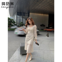 Dress Spring 2021 Apricot S,M,L longuette singleton  Long sleeves commute V-neck High waist Solid color Socket A-line skirt routine Others 25-29 years old Type A Korean Lin space Korean version Lace 11TL30991 Lace polyester fiber