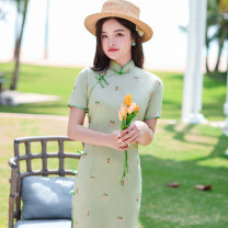 cheongsam Spring 2021 XXL,S,M,L,XL Green, white, pink Short sleeve Single cheongsam Retro Low slit daily Oblique lapel Solid color 18-25 years old Piping D2105 96% and above