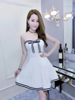 Dress Summer of 2018 Black, blue, rose, pink, white, red Average size Short skirt singleton  Sleeveless commute V-neck High waist Solid color Socket Princess Dress other Breast wrapping 18-24 years old 71% (inclusive) - 80% (inclusive) cotton