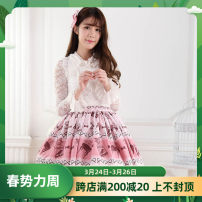 skirt Summer 2020 XS,S,M,L,XL Pink, white top, white skirt, 2-layer one size fits all Short skirt Sweet Pleated skirt More than 95% polyester fiber Bowknot, ruffle, embroidery, fold, Auricularia auricula, printing, lace Lolita