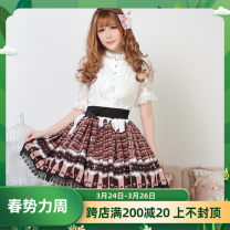 skirt Spring of 2018 XS,S,M,L,XL chocolate Short skirt Sweet Natural waist Pleated skirt 91% (inclusive) - 95% (inclusive) knitting polyester fiber Bow, ruffle, tuck, fold, fungus, lace Lolita
