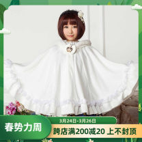 woolen coat Autumn of 2018 Average size white polyester 91% (including) - 95% (excluding) routine Sleeveless Sweet Buckle Bat sleeve Hood Solid color Cape type Other / other Lolita