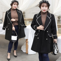 woolen coat Autumn of 2019 XL XXL XXXL 4XL black polyester 95% and above Medium length Long sleeves commute double-breasted routine Polo collar Self cultivation Korean version A273 Bdodo / loser Solid color Imitation fabric Polyester 100% Pure e-commerce (online only)