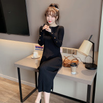 Dress Winter 2020 Black white apricot Khaki orange dark green coffee S M L XL Mid length dress singleton  Long sleeves commute Crew neck middle-waisted Solid color Socket One pace skirt routine 25-29 years old Type H Windstyle Korean version Splicing More than 95% knitting other Other 100%