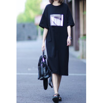 Dress Summer 2021 White black blue gray S M L XL longuette singleton  Short sleeve commute Crew neck Loose waist letter Socket A-line skirt routine 25-29 years old Type H Windstyle printing More than 95% other Other 100% Pure e-commerce (online only)