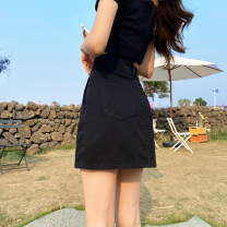 skirt Summer 2021 S M L XL black Short skirt commute High waist A-line skirt Solid color Type A 18-24 years old More than 95% Denim Windstyle other pocket Other 100% Pure e-commerce (online only)