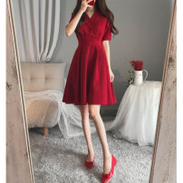 Women's large Summer 2020 Black red Dress singleton  commute easy moderate Socket Short sleeve Solid color Korean version V-neck routine Three dimensional cutting routine Windstyle belt Middle-skirt Other 100%