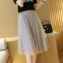 skirt Summer 2021 68CM 78CM Pink black gray apricot white longuette commute High waist Pleated skirt Solid color Type A 18-24 years old More than 95% Chiffon Windstyle other Gauze Other 100% Pure e-commerce (online only)