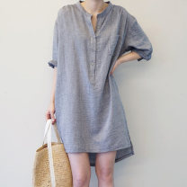 Dress Summer 2021 Blue grey S M L XL XXL XXXL longuette singleton  Long sleeves commute V-neck Loose waist stripe Socket routine 25-29 years old Windstyle Button More than 95% other Other 100% Pure e-commerce (online only)