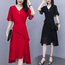 Dress Summer 2021 [7103 # red] [7103 # black] [7102 # red] [7102 # black] [7089 # color] [7166 # color] [7037 black] [7100 # color] [7073 # black apricot] [7098 # black] [7073 # black gray] L XL 2XL 3XL 4XL 5XL longuette singleton  Short sleeve commute V-neck middle-waisted Solid color Socket Type A