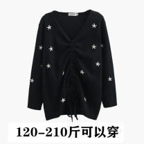 Women's large Spring 2020 black Large XL, large XXL, large XXL shirt singleton  commute easy moderate Socket Long sleeves Plants and flowers Korean version V-neck routine cotton Three dimensional cutting routine 25-29 years old Embroidery