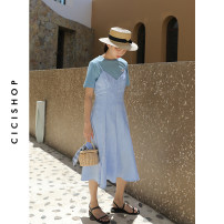 Dress Summer 2020 wathet XS S M L Mid length dress singleton  Sleeveless Sweet V-neck High waist Solid color A-line skirt camisole 18-24 years old Cici-Shop More than 95% polyester fiber Polyester 100% Pure e-commerce (online only)