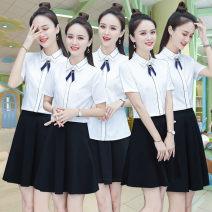 Fashion suit Summer of 2019 S M L XL 2XL 3XL 4XL 5XL 6XL White one white shirt one black skirt one 25-35 years old Tlzc / Teana City TL-19040 1900 Polyester fiber 60% cotton 35% polyurethane elastic fiber (spandex) 5% Pure e-commerce (online only)