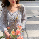 Dress Spring 2021 Red, blue S,M,L Mid length dress singleton  Long sleeves commute V-neck High waist Broken flowers Socket A-line skirt puff sleeve Others Type X Dreamers lady 31% (inclusive) - 50% (inclusive) other