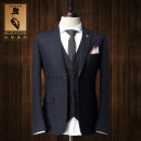 man 's suit Grey Stripe single suit Busycon Business gentleman routine 46 48 50 52 54 56 XF0004 Polyester 70% viscose 30% Spring 2016 Self cultivation Double breasted go to work Back middle slit Pure e-commerce (online only) youth three quarter sleeve autumn routine Business Formal  Formal dress