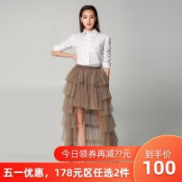 skirt Spring 2020 S85 M85 L90 XL90 Camel white black Mid length dress Versatile High waist Cake skirt Type A 18-24 years old More than 95% other Evelyn polyester fiber Polyester 100% Pure e-commerce (online only)