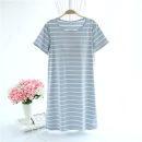 Nightdress Other / other Pink stripe, pink blue stripe, blue stripe, gray stripe, green stripe, khaki stripe 160(M),165(L),170(XL) Simplicity Short sleeve Leisure home Middle-skirt summer stripe Crew neck cotton More than 95% Knitted cotton fabric HTWXDQ 200g and below