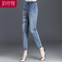 Middle aged and old women's wear Autumn of 2019 Spring and autumn blue fashion trousers easy singleton  letter 40-49 years old moderate pocket cotton 81% (inclusive) - 90% (inclusive) Ninth pants