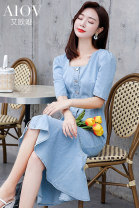 Dress Summer 2020 blue M L XL longuette singleton  Short sleeve commute square neck High waist Solid color Single breasted Ruffle Skirt other Others 25-29 years old Aowei Button 51% (inclusive) - 70% (inclusive) cotton