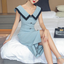 Dress Spring 2021 sky blue S,M,L,XL Middle-skirt singleton  Sleeveless commute V-neck middle-waisted Solid color zipper One pace skirt other Others 25-29 years old Type H Korean version Open back, button, zipper CYS-2215HF225-A More than 95% polyester fiber