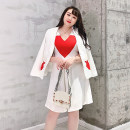 Women's large Spring 2021, autumn 2021 Xiao Xiang Feng coat, dress Large L, large XL, large XXL, large XXL, large XXXXL, large M Jacket / jacket Two piece set commute Self cultivation moderate Cardigan Long sleeves Solid color, abstract pattern Simplicity V-neck routine Polyester, cotton, nylon HO767