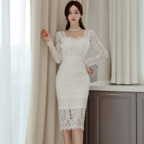 Dress Spring 2021 white S,M,L,XL Mid length dress singleton  Long sleeves commute square neck High waist Solid color Socket One pace skirt routine Others 25-29 years old Type H Other / other Korean version 887656E49 Lace polyester fiber