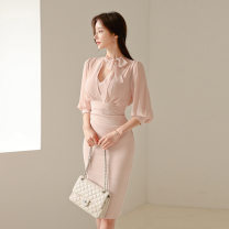 Dress Summer 2020 Pink S,M,L,XL Middle-skirt singleton  elbow sleeve commute Scarf Collar High waist Solid color Socket One pace skirt routine Others 25-29 years old Type X Other / other Korean version 885448HF225A 81% (inclusive) - 90% (inclusive) Lace polyester fiber