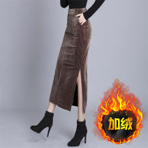 skirt Autumn of 2019 S,M,L,XL,2XL,3XL,4XL,5XL Brown, black, Brown 1, black 2 Mid length dress commute High waist skirt stripe Type H 35-39 years old #946 More than 95% corduroy polyester fiber Button, zipper Ol style 401g / m ^ 2 (inclusive) - 500g / m ^ 2 (inclusive)