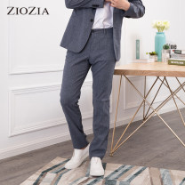 Casual pants ZIOZIA Fashion City Navy light grey 74/28 78/30 82/32 84/33 88/35 routine trousers Other leisure Self cultivation DLX2PP1053 summer youth Exquisite Korean style 2017 middle-waisted Straight cylinder Polyester 96% polyurethane elastic fiber (spandex) 4% other Summer 2017