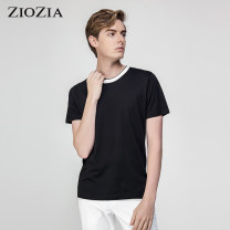 T-shirt / sweater ZIOZIA Business gentleman black 90/XS/165 95/S/170 100/M/175 105/L/180 110/XL/185 routine Socket Crew neck Short sleeve Slim fit Cotton 100% like a breath of fresh air Summer of 2019
