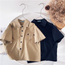 shirt Khaki, Navy Black Other / other neutral 90cm,100cm,110cm,120cm,130cm,140cm,150cm summer Long sleeves leisure time Solid color cotton Lapel and pointed collar
