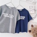 T-shirt Grey, Navy Other / other 90cm,100cm,110cm,120cm,130cm,140cm,150cm neutral summer Short sleeve leisure time No model nothing cotton other Sweat absorption 18 months, 2 years old, 3 years old, 4 years old, 5 years old, 6 years old, 7 years old, 8 years old, 9 years old