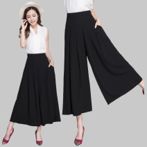 Casual pants Black 9 / 87cm, black 7 / 80cm S / 1'9 / 26, M / 2'27, L / 2'1 / 28, XL / 2'2 / 29, XXL / 2'3 / 30, 3XL / 2'4 / 31, 4XL / 2'5 / 32, 5XL / 2'6 / 33, 6xl / 2'7 / 34 Summer 2020 Ninth pants Wide leg pants High waist commute Thin money 96% and above other Korean version pocket