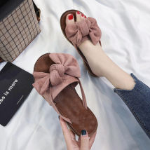 slipper 35 36 37 38 39 40 Other / other Black [smaller] pink [smaller] green [smaller] yellow [smaller] Flat bottom Flat heel (1cm or less) Suede Summer of 2018 One line TPR (tendon) daily Korean version Adhesive shoes Solid color PU PU