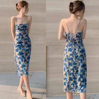 Dress Summer 2021 Picture color S,M,L,XL Mid length dress singleton  Sleeveless commute square neck middle-waisted Decor Socket One pace skirt camisole 25-29 years old T-type Korean version Bare back, bandage 51% (inclusive) - 70% (inclusive) other polyester fiber