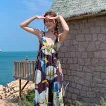 Dress Summer 2021 Picture color S,M,L,XL longuette singleton  Sleeveless Sweet V-neck High waist Decor Socket Big swing camisole 25-29 years old Type A backless 51% (inclusive) - 70% (inclusive) Chiffon polyester fiber Bohemia