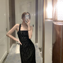 Dress Summer 2021 black S,M,L Mid length dress singleton  Sleeveless commute square neck middle-waisted Zebra pattern Socket One pace skirt camisole 25-29 years old T-type Korean version backless 51% (inclusive) - 70% (inclusive) other other