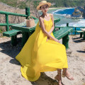 Dress Summer 2021 yellow S,M,L longuette singleton  Sleeveless Sweet One word collar Loose waist Solid color Socket Big swing other camisole 25-29 years old Type A Other / other backless 51% (inclusive) - 70% (inclusive) Chiffon polyester fiber Bohemia