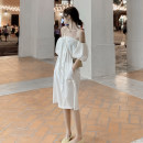 Dress Summer 2021 white S,M,L Mid length dress singleton  Short sleeve Sweet One word collar Loose waist Solid color Socket A-line skirt puff sleeve Breast wrapping 18-24 years old Type A Pocket, button 51% (inclusive) - 70% (inclusive) other cotton Mori