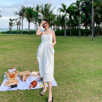 Dress Summer 2021 white S,M,L,XL Middle-skirt singleton  Sleeveless commute One word collar High waist Solid color Single breasted A-line skirt Breast wrapping 18-24 years old Type A Korean version 51% (inclusive) - 70% (inclusive) other cotton