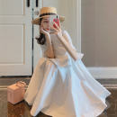 Dress Summer 2021 White lovers S,M,L Short skirt singleton  Short sleeve commute Crew neck Loose waist Solid color Socket A-line skirt routine Others 18-24 years old Type A Other / other Korean version Lotus leaf edge 31% (inclusive) - 50% (inclusive) other polyester fiber