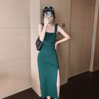 Dress Summer 2021 blackish green S,M,L,XL Mid length dress singleton  Sleeveless commute square neck middle-waisted Solid color Socket One pace skirt straps 18-24 years old Type A Simplicity Open back, zipper 51% (inclusive) - 70% (inclusive) other polyester fiber
