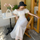 Dress Summer 2021 white S,M,L,XL longuette singleton  Short sleeve Sweet One word collar High waist Solid color Socket Big swing puff sleeve Others 18-24 years old T-type Ruffles, stitches, lace 51% (inclusive) - 70% (inclusive) organza  polyester fiber Bohemia