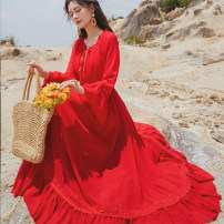 Dress Spring 2021 gules S,M,L,XL longuette singleton  Long sleeves Sweet Lotus leaf collar High waist Solid color Socket Big swing pagoda sleeve Others 25-29 years old T-type Lace, lace 81% (inclusive) - 90% (inclusive) Chiffon polyester fiber Bohemia