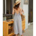 Dress Summer 2021 Light grey S,M,L,XL longuette singleton  Sleeveless Sweet square neck Loose waist Solid color Socket A-line skirt camisole 25-29 years old Type A Bare back, bandage 31% (inclusive) - 50% (inclusive) Chiffon polyester fiber Bohemia