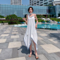 Dress Summer 2021 white S,M,L,XL longuette singleton  Sleeveless Sweet V-neck Loose waist Solid color Socket Irregular skirt camisole 25-29 years old T-type 51% (inclusive) - 70% (inclusive) Chiffon polyester fiber Bohemia