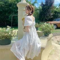 Dress Summer 2021 white S,M,L Mid length dress singleton  Short sleeve Sweet square neck Elastic waist Solid color Socket Big swing puff sleeve Others 18-24 years old Type A Bowknot, backless, embroidery, bandage 51% (inclusive) - 70% (inclusive) Chiffon polyester fiber Bohemia