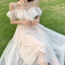 Dress Summer 2021 Apricot (long style) S,M,L longuette singleton  Sleeveless commute One word collar High waist Solid color zipper Big swing camisole 18-24 years old Type A Other / other lady Bowknot, fungus, lace, gauze, zipper 71% (inclusive) - 80% (inclusive) other polyester fiber