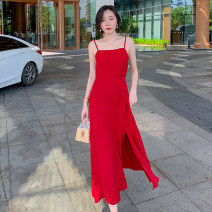 Dress Summer 2021 gules S,M,L longuette singleton  Sleeveless Sweet other High waist Solid color Socket A-line skirt routine camisole 18-24 years old T-type Open back, lace up 51% (inclusive) - 70% (inclusive) Chiffon polyester fiber Bohemia